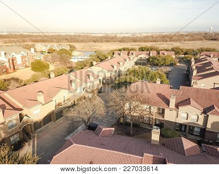 Aerial View Riverside Apartment Buildings Complex In Irving, Texas, Usa
