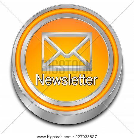 Decorative Orange Newsletter Button - 3d Illustration