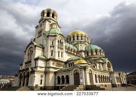 Alexander Nevsky Cathedral. Beautiful View Of Alexander Nevsky Cathedral In Sofia, The Capital Of Bu