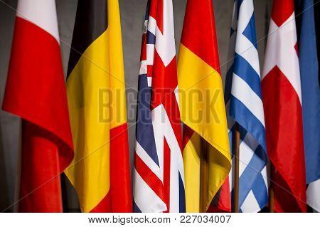 Eu Countries Flags - Great Britain (united Kingdom), Germany, Belgium, Greece.