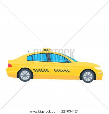 Poster With The Machine Yellow Cab Isolated On White Background. Public Taxi Service Concept. Flat V