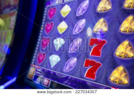 Computer Monitor Of Slot Machines In Casino Equipment Exhibition. Diamonds And Seven (7).