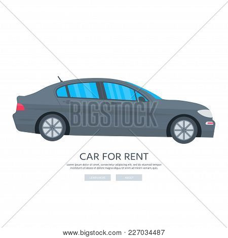 Poster With Car Isolated On White Background. Public Rent Service Concept. Flat Vector Illustration.
