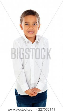 Shy small child with dark hair and black eyes isolated on a white background