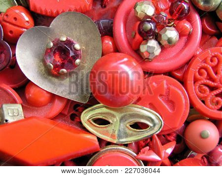 Hodgepodge Mixture Of Vintage Red And Metal Trinkets And Beads