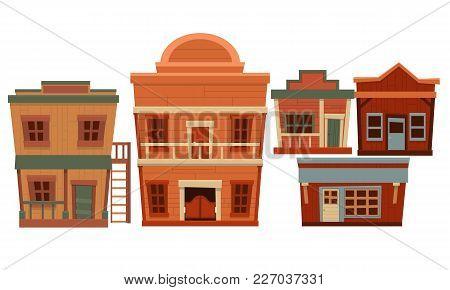 Set Of Wild West. Flat Design. Vector Illustration