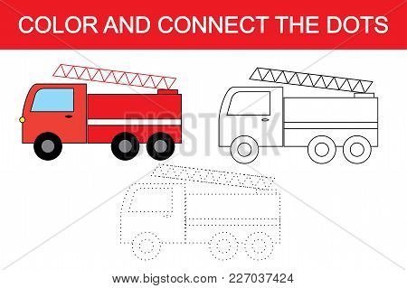 Cartoon Fire Escape (transport). Dot To Dot Educational Game For Children. Coloring Page.