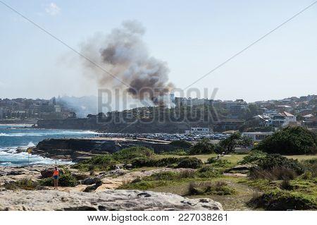Sydney, Australia - 17 February 2018: Bushfire With Smoke At Dunningham Reserve At The Coast