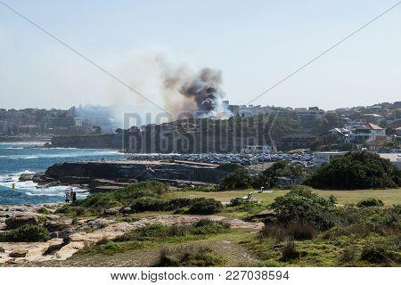 Sydney, Australia - 17 February 2018: Bushfire With Dark Smoke At Dunningham Reserve