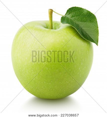 One Ripe Green Apple Fruit With Green Leaf Isolated On White Background. Granny Smith Apple With Cli