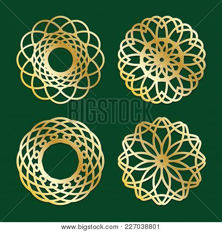 Gold On Dark Mandala Round Ornament Background Architectural Muslim Texture Design . Can Be Used For