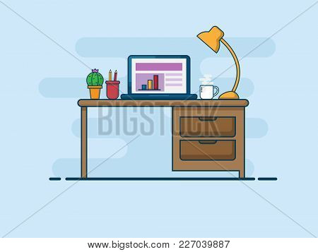 Illustration Of Work Desk, Work Space Flat Line Vector Background
