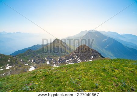 High Altitude Landscape Idyllic Uncontaminated Environment. Summer Adventures And Exploration On The
