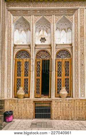 Yazd, Iran - May 5, 2015: Traditionally Decorated Room Overlooking The Inner Courtyard Of The Water