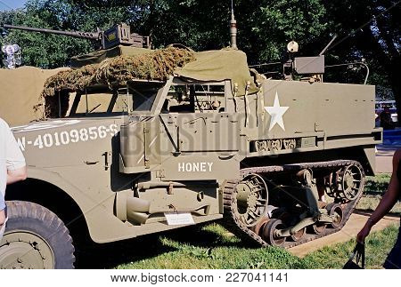 M5 Half-track Personnel Carrier On Display At The World War Two Dedication Ceremony In Washington, D