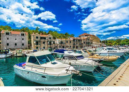 Summer View At Popular Tourist Resort In Croatia, Makarska Town Scenery In Croatia, Mediterranean.