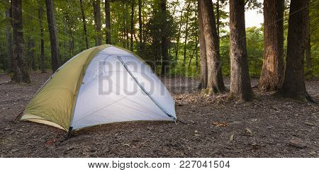 Nylon Tent In A Campsite In North Carolina At Sunset