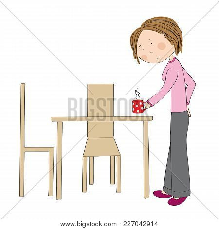Young Woman Holding Cup Of Coffee Or Tea, Bringing It To The Table, Looking Forward To Breakfast - O