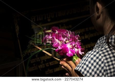 Thai Orchid For Worship In The Temple At Thailand