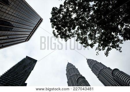 Kuala Lumpur, Malaysia - 06 January 2018: The Petronas Twin Towers Photo Taken In The Evening. View