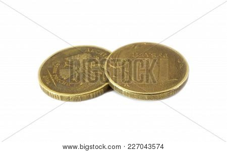 Two Russian Coins Of Ten Rubles Isolated On White