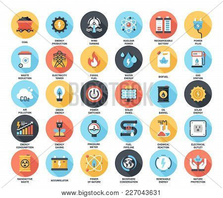 Abstract Vector Set Of Colorful Flat Power And Energy Icons With Long Shadow. Concepts And Design El