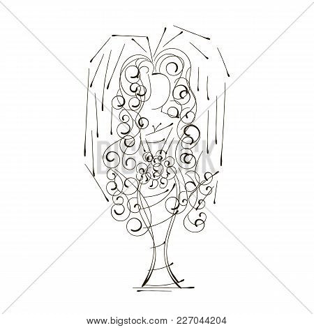 Wedding Design Of Bride In Silhouette, The Bride In A White Bridal Dress Gown Holding A Floral Bouqu