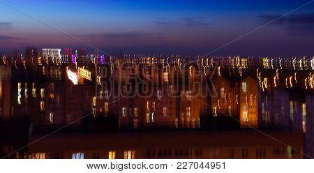 Night City Abstraction Summer Evening Photo Blur
