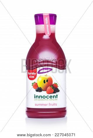 London, Uk - February 14, 2018: Plastic Bottle Of Innocent Summer Fruits Juice On White Background.f