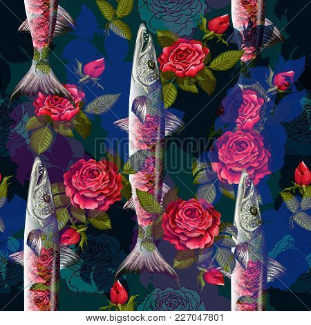 Unique Fashion Sealess Pattern  With Fish Barracuda And Roses  In Neon Style.