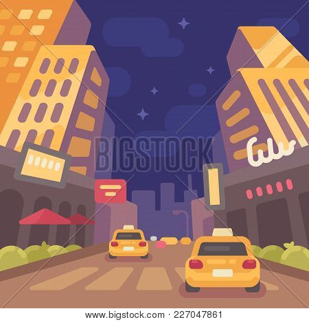 Night Modern City Street With Taxi Cars Low Perspective View. Vintage Travel Poster Flat Illustratio