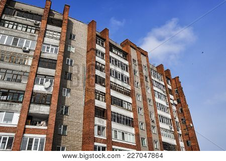 Large Residential Building. Apartment Block. Modern Architecture. Apartment Building. Grunge