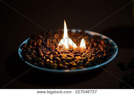Burning Coffee Beans, Aromatic, Grain, Closeup, Dark
