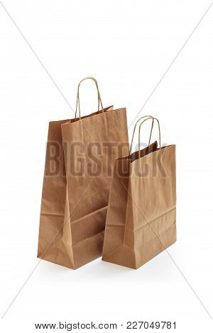 Brown Shopping Bags. Isolated On White Background.