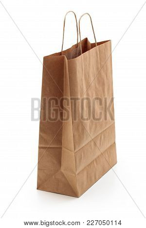 Brown Shopping Bag. Isolated On White Background.