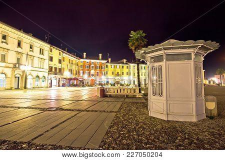 Central Square Colorful Architecture In Italian Town Of Palmanova Evening View, Friuli Venezia Giuli
