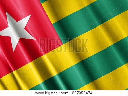 Togo Textured Proud Country Waving Flag Close