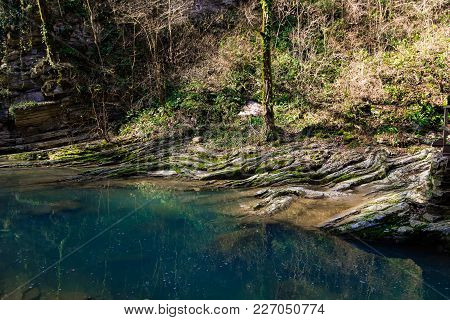 Landscape With Mountain River Agura, Hosta District, Sochi,russia