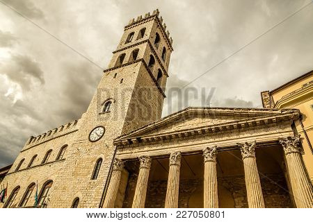 Temple Of Minerva - Assisi, Province Of Perugia, Umbria Region, Italy, Europe