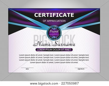 Horizontal Certificate Or Diploma Template With Purple And Blue Decorative Elements On White Backgro
