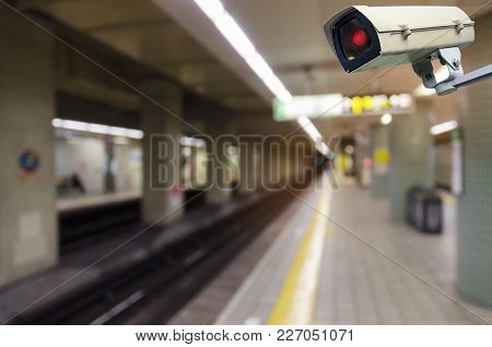 Cctv, Security Camera System Operating With Blurred View Of Subway Train Station, Surveillance Secur