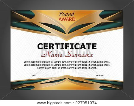 Horizontal Certificate Or Diploma Template With Gold And Turquoise Decorative Elements On White Back