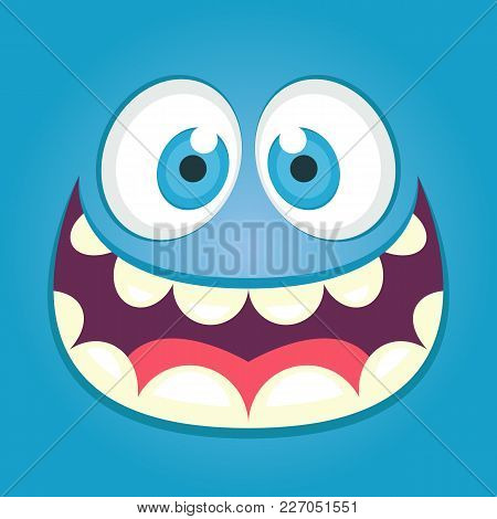 Cute Monster Face. Square Avatar. Vector Stock.