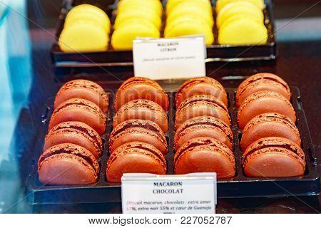 Closeup On Coloreful Chocolate Macaroons (