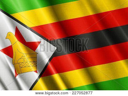 Zimbabwe Textured Proud Country Waving Flag Close