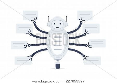 Chat Bot With Bubbles Of Speech In Hands. Robot Android On White Background. Online Assistant