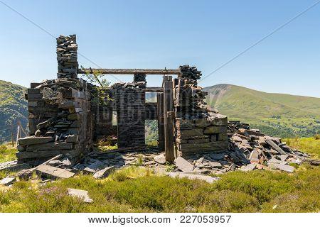 Derelict House At Dinorwic Quarry Near Llanberis, Gwynedd, Wales, Uk