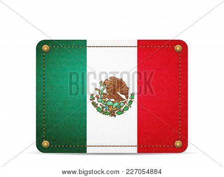 Denim Mexico Flag On A White Background.