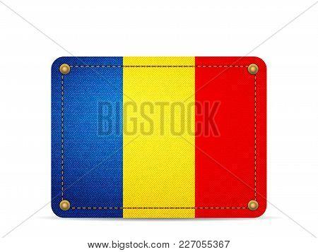 Denim Romania Flag On A White Background.