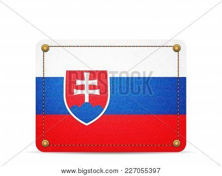 Denim Slovakia Flag On A White Background.